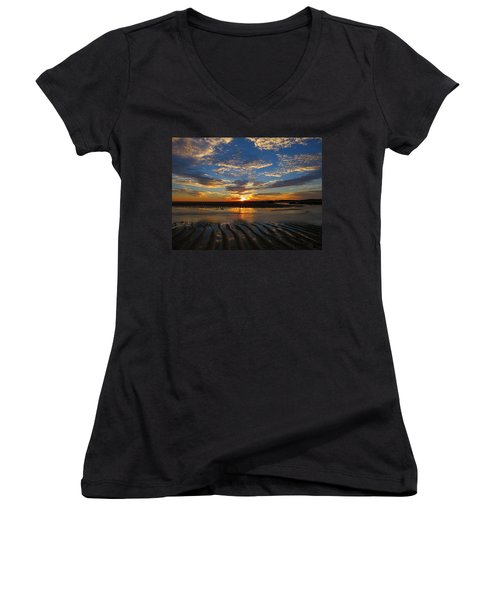 Sunrise Glory Women's V-Neck T-Shirt (Junior Cut) by Dianne Cowen
