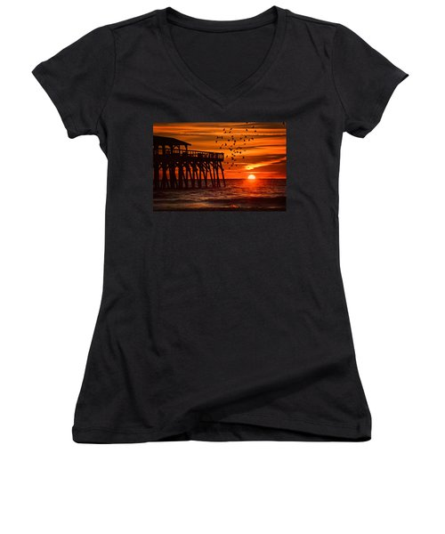 Sunrise In Myrtle Beach With Birds Flying Around The Pier Women's V-Neck T-Shirt (Junior Cut) by Vizual Studio