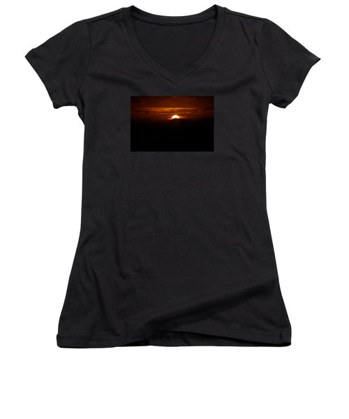 Sunrise In The Clouds Women's V-Neck T-Shirt (Junior Cut) by Lehua Pekelo-Stearns