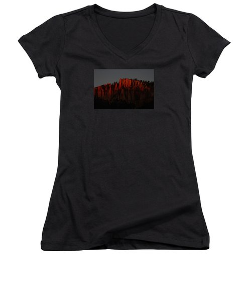 Sunrise In The Desert Women's V-Neck T-Shirt (Junior Cut) by Menachem Ganon