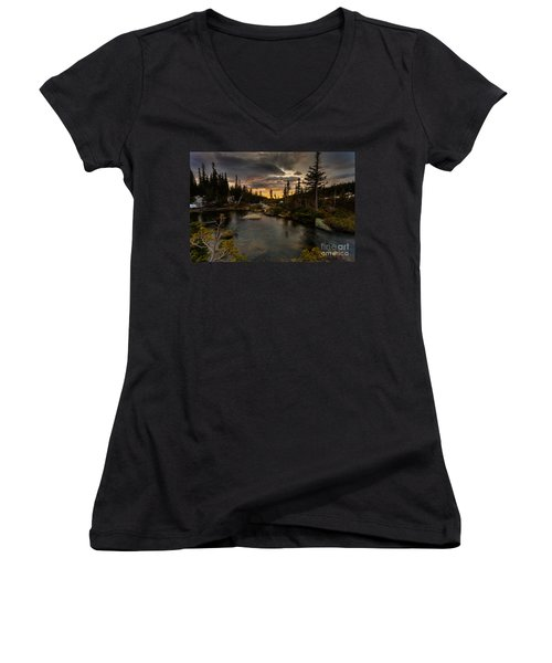 Sunrise In The Indian Peaks Women's V-Neck (Athletic Fit)
