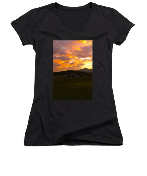 Sunrise In The Smokies Women's V-Neck (Athletic Fit)