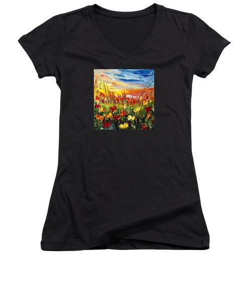 Sunrise Meadow   Women's V-Neck T-Shirt (Junior Cut) by Teresa Wegrzyn