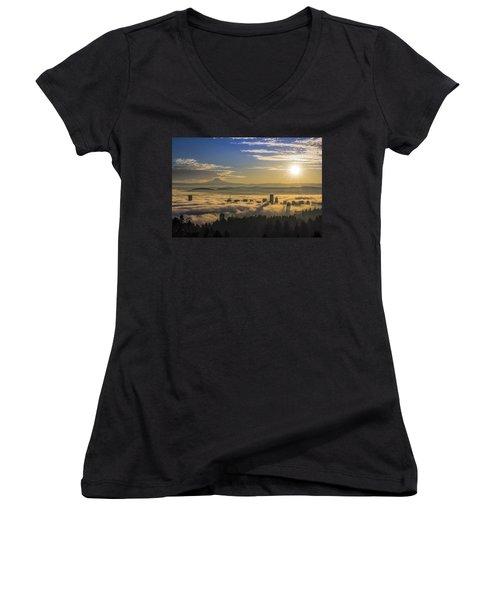 Sunrise Over Foggy Portland Women's V-Neck T-Shirt