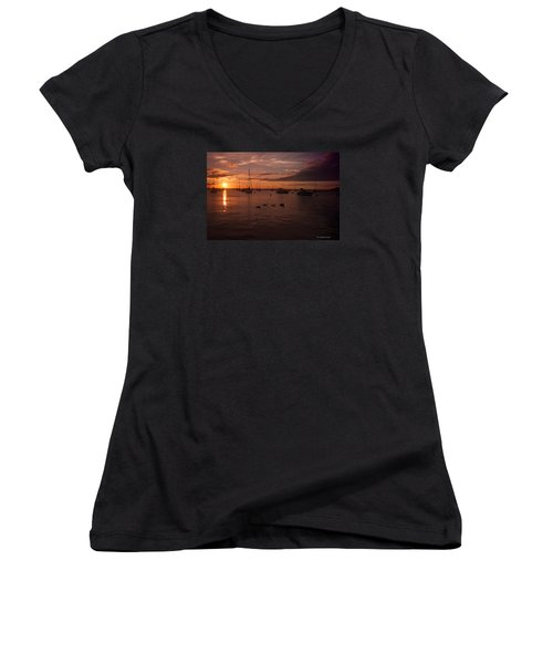 Sunrise Over Lake Michigan Women's V-Neck T-Shirt (Junior Cut) by Miguel Winterpacht