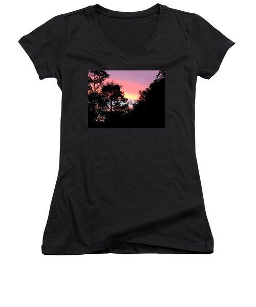 Sunrise Over Perry Women's V-Neck T-Shirt