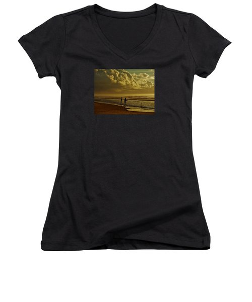 Women's V-Neck T-Shirt (Junior Cut) featuring the photograph Sunrise Surf Fishing by Ed Sweeney