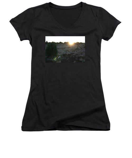 Women's V-Neck T-Shirt (Junior Cut) featuring the photograph Sunrize by David S Reynolds