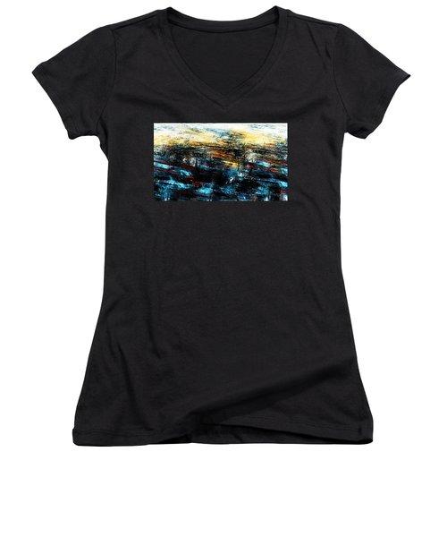Women's V-Neck T-Shirt (Junior Cut) featuring the digital art Sunset 083014 by David Lane