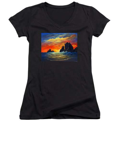 Sunset 2 Women's V-Neck T-Shirt