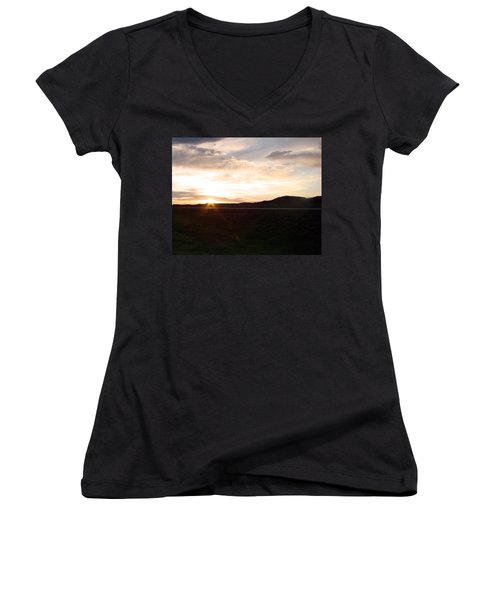 Women's V-Neck T-Shirt (Junior Cut) featuring the photograph Sunset Across I 90 by Cathy Anderson
