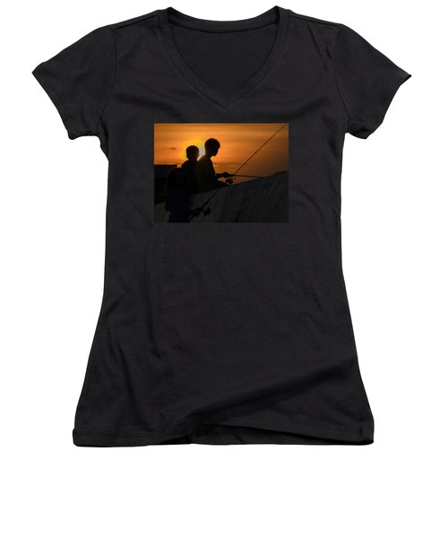 Sunset Anglers Women's V-Neck (Athletic Fit)