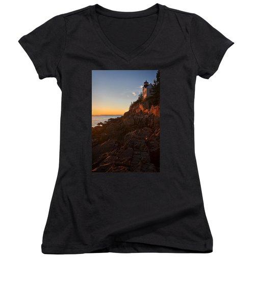 Women's V-Neck T-Shirt (Junior Cut) featuring the photograph Sunset At Bass Head   by Priscilla Burgers