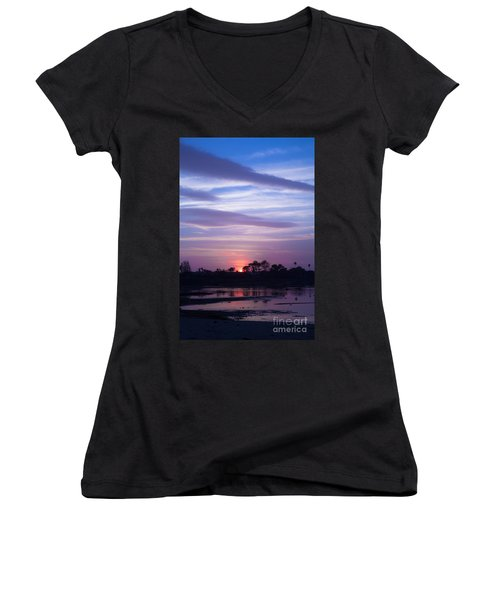Sunset At Malibu Beach Lagoon Estuary Fine Art Photograph Print Women's V-Neck (Athletic Fit)