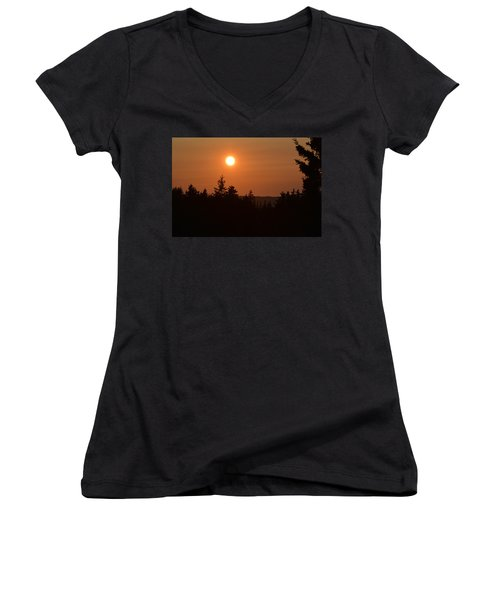 Sunset At Owl's Head Women's V-Neck