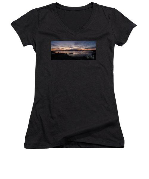 Sunset Over Lake Myvatn In Iceland Women's V-Neck (Athletic Fit)