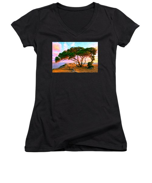 Sunset At The Wedge In Newport Beach Women's V-Neck T-Shirt (Junior Cut) by Michael Pickett