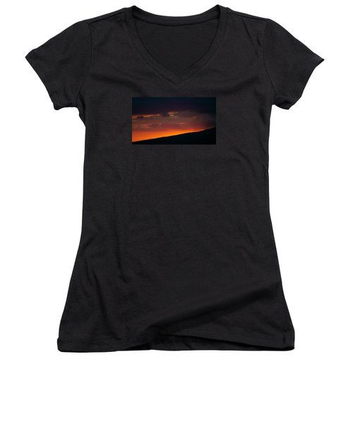 Women's V-Neck T-Shirt (Junior Cut) featuring the photograph Sunset Beyond The Waianae Mountain Range by Lehua Pekelo-Stearns