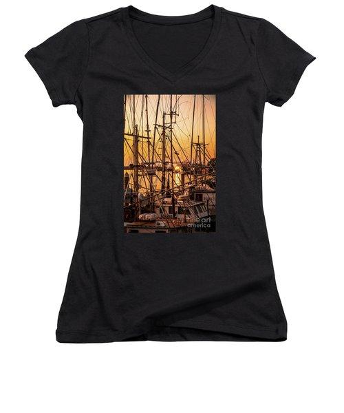 Sunset Boat Masts At Dock Morro Bay Marina Fine Art Photography Print Sale Women's V-Neck T-Shirt (Junior Cut) by Jerry Cowart