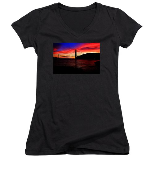 Sunset By The Bay Women's V-Neck T-Shirt (Junior Cut) by Dave Files