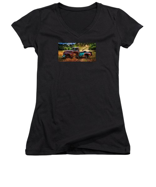Sunset Chevy Pickup Women's V-Neck (Athletic Fit)