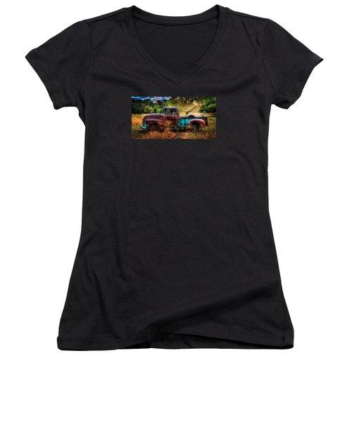 Sunset Chevy Pickup Women's V-Neck T-Shirt