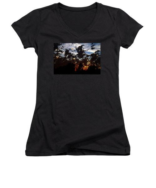 Sunset Clouds Women's V-Neck T-Shirt