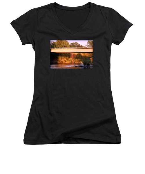 Women's V-Neck T-Shirt (Junior Cut) featuring the photograph Sunset Dip by Melanie Lankford Photography
