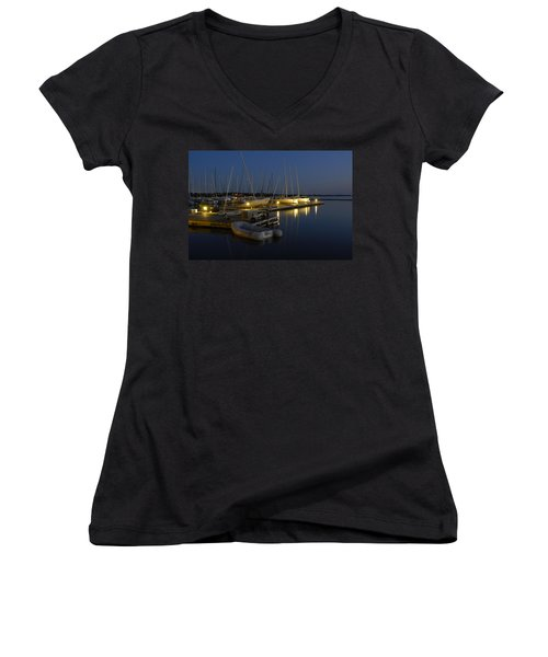 Sunset Dock Women's V-Neck T-Shirt (Junior Cut) by Charles Beeler