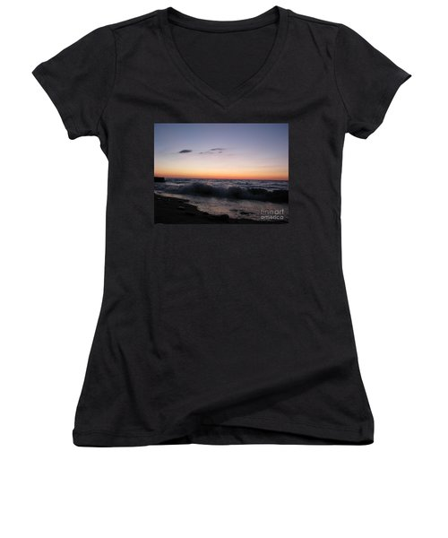 Sunset II Women's V-Neck T-Shirt (Junior Cut) by Michael Krek