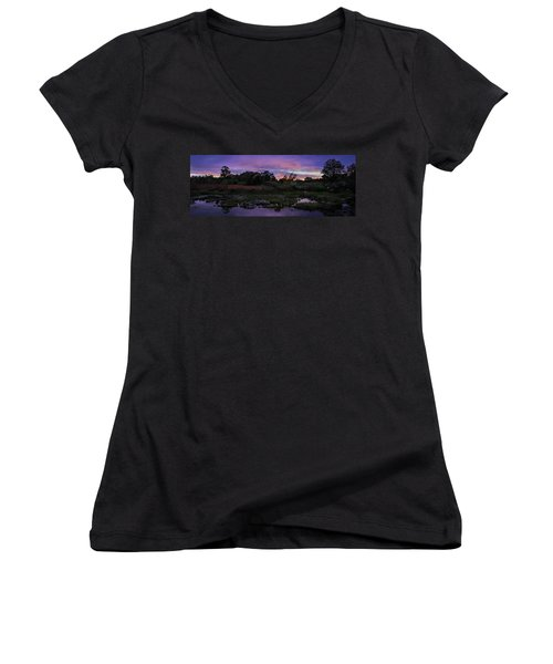 Sunset In Purple Along Highway 7 Women's V-Neck (Athletic Fit)