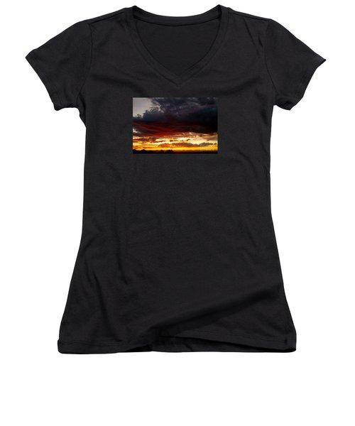 Sunset In Red Women's V-Neck T-Shirt