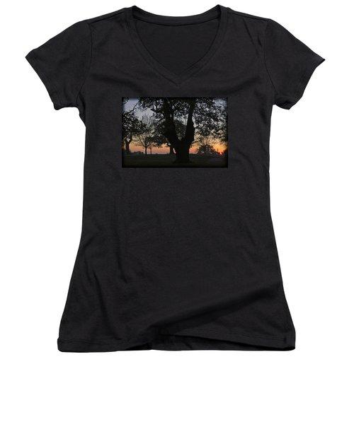 Sunset In Richmond Park Women's V-Neck T-Shirt (Junior Cut) by Maj Seda