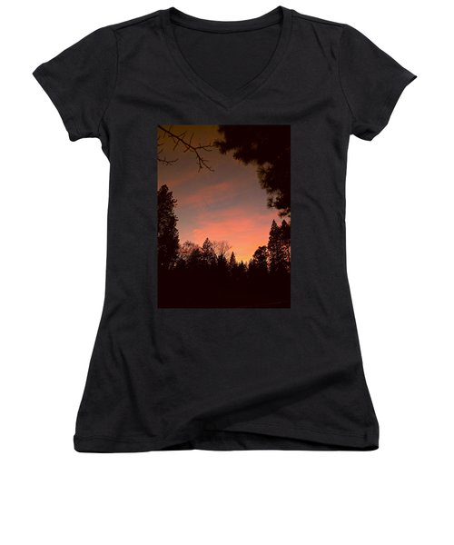 Sunset In Winter Women's V-Neck T-Shirt (Junior Cut)