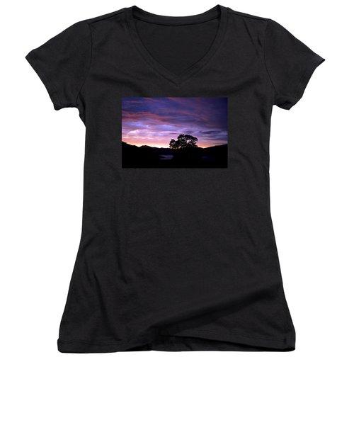 Women's V-Neck T-Shirt (Junior Cut) featuring the photograph Sunset Lake by Matt Harang