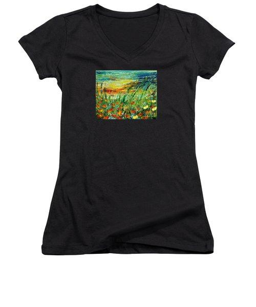 Sunset Meadow Series Women's V-Neck T-Shirt (Junior Cut) by Teresa Wegrzyn