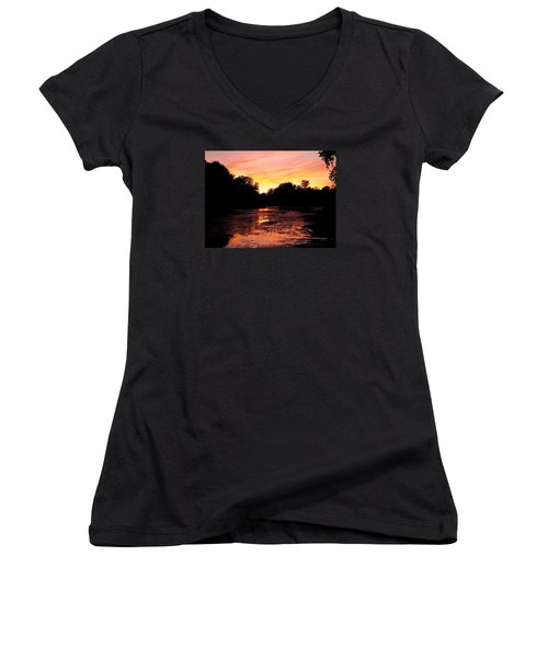 Women's V-Neck T-Shirt (Junior Cut) featuring the photograph Sunset Near Rosemere - Qc by Juergen Weiss