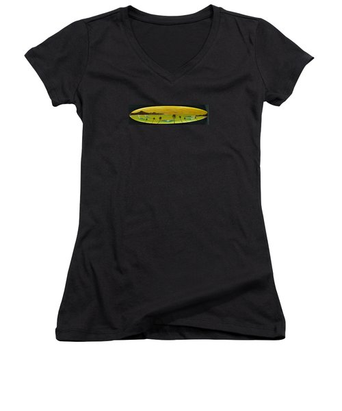 Sunset On A Surfboard Women's V-Neck (Athletic Fit)