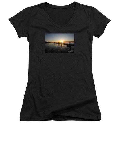 Women's V-Neck T-Shirt (Junior Cut) featuring the photograph Sunset On Key Largo by Christiane Schulze Art And Photography