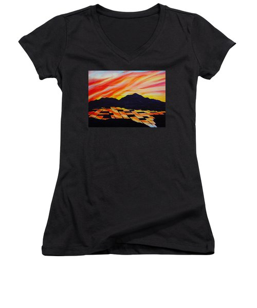 Women's V-Neck T-Shirt (Junior Cut) featuring the painting Sunset On Rice Fields by Michele Myers