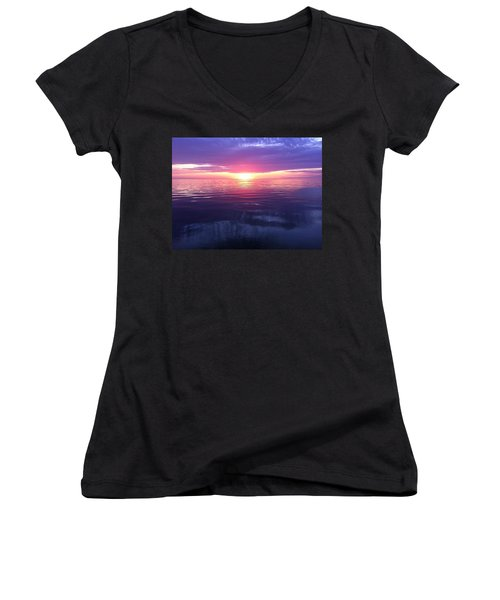 Women's V-Neck T-Shirt (Junior Cut) featuring the photograph Sunset On The Bay by Tiffany Erdman