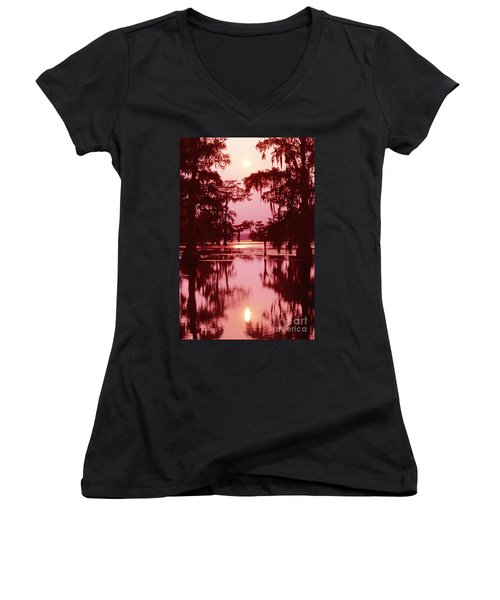 Women's V-Neck T-Shirt (Junior Cut) featuring the photograph Sunset On The Bayou Atchafalaya Basin Louisiana by Dave Welling