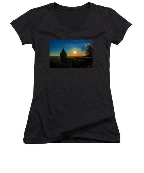 Sunset On The Fortress Koenigstein Women's V-Neck