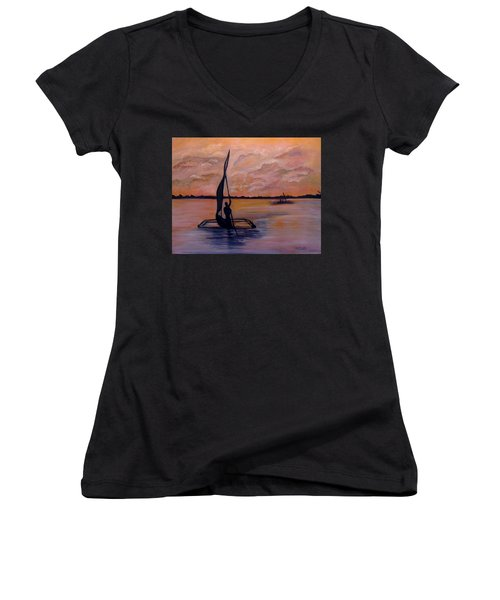 Sunset On The Nile Women's V-Neck (Athletic Fit)