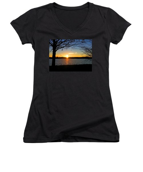 Sunset On The Potomac Women's V-Neck T-Shirt (Junior Cut) by Emmy Marie Vickers