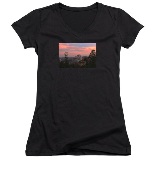 Sunset Over Half Dome Women's V-Neck T-Shirt