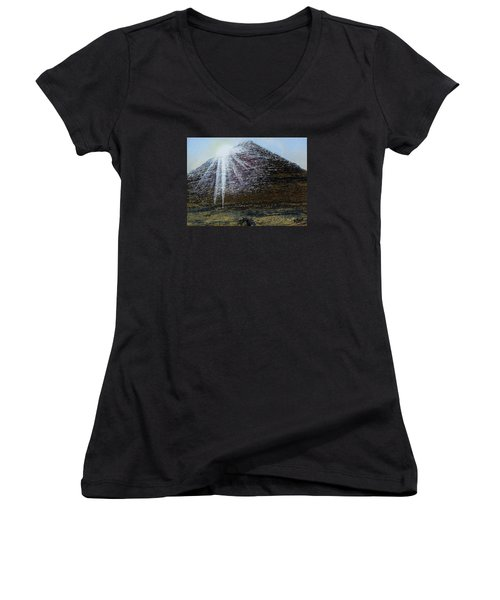 Sunset Over Khufu Women's V-Neck T-Shirt (Junior Cut) by Raymond Perez