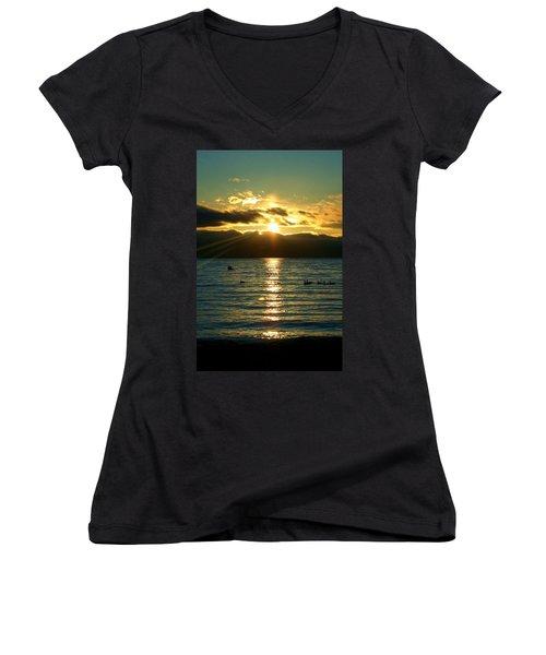 Sunset Over Lake Tahoe Women's V-Neck T-Shirt (Junior Cut) by Ellen Heaverlo