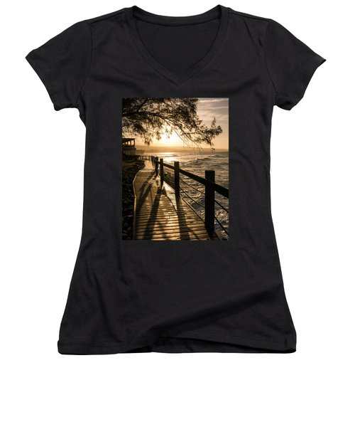 Sunset Over Ocean Walkway Women's V-Neck (Athletic Fit)
