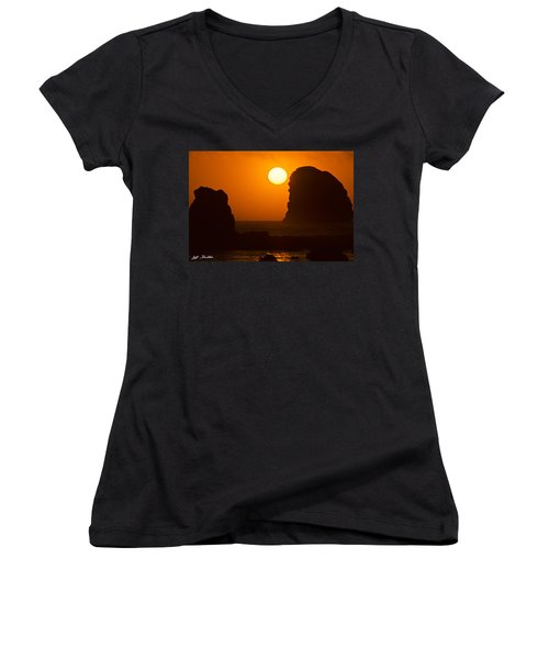 Sunset Over The Pacific Ocean With Rock Stacks Women's V-Neck T-Shirt (Junior Cut) by Jeff Goulden